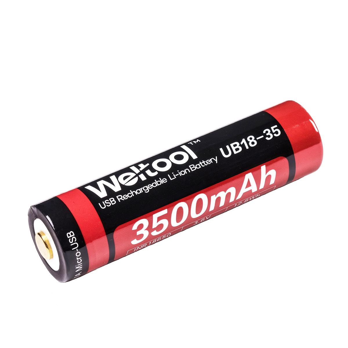 Weltool UB18-35 18650 3500mAh USB Rechargeable Li-ion Battery