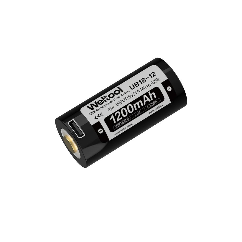 Weltool UB18-12 18350 1200mAh USB Rechargeable Li-ion Battery