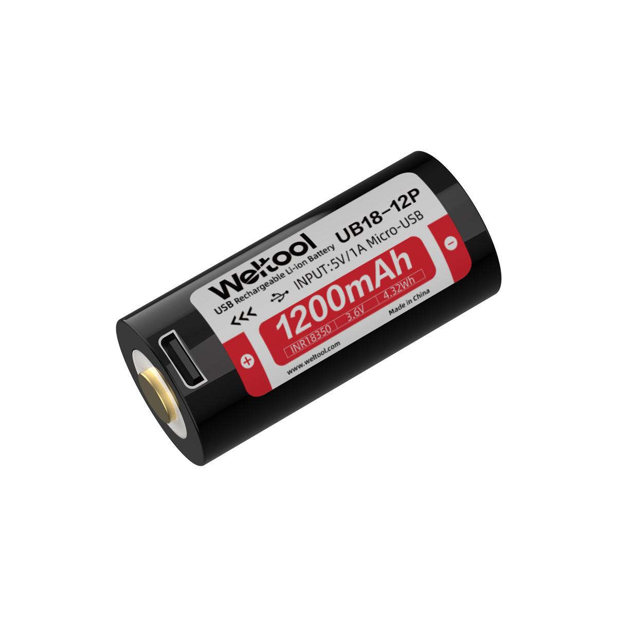 Weltool UB18-12P High Drain 8A 1200mAh USB Rechargeable 18350 Li-ion Battery