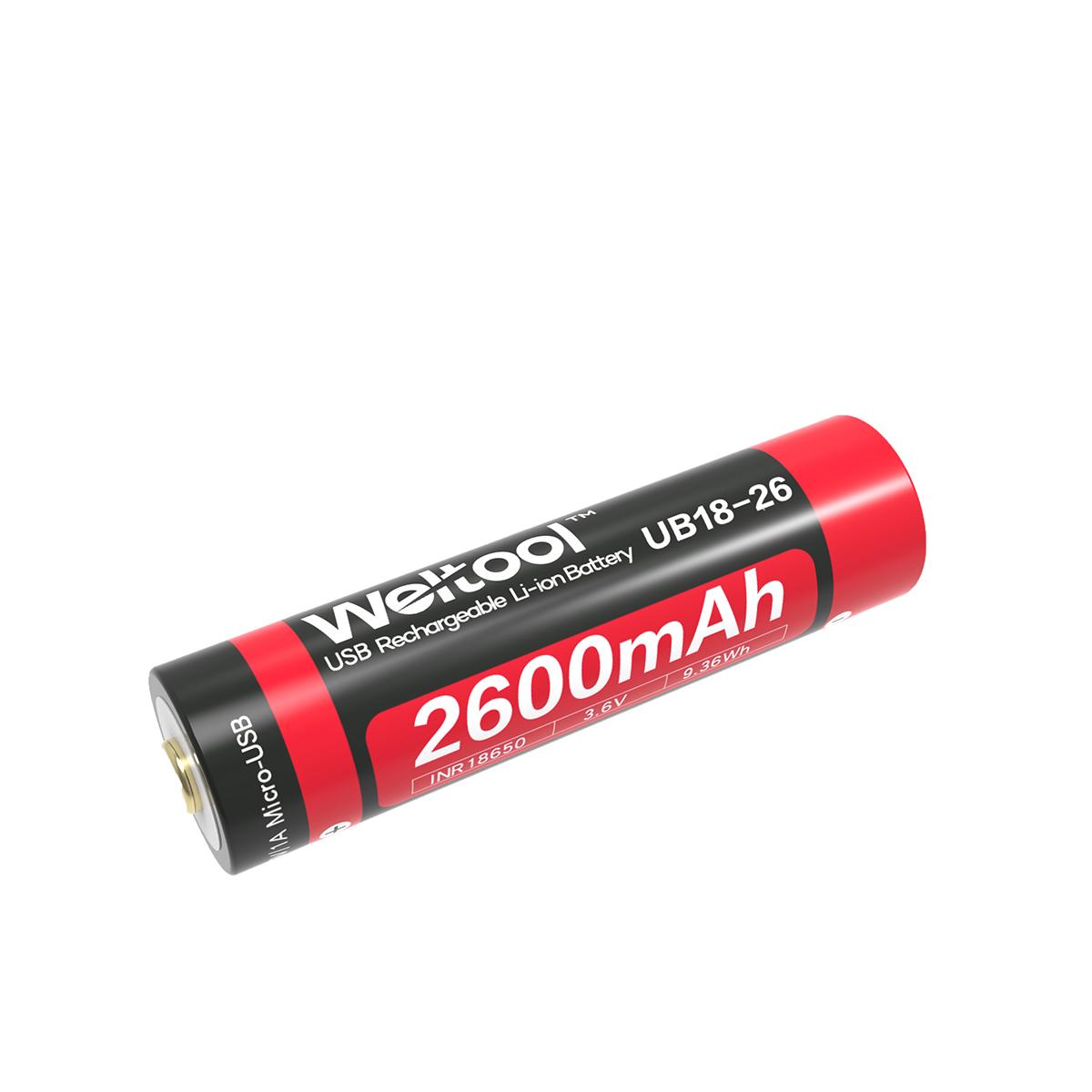 Weltool UB18-26 18650 2600mAh USB Rechargeable Li-ion Battery