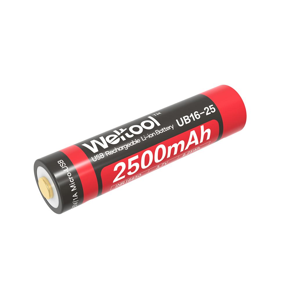 Weltool UB16-25 16650 2500mAh USB Rechargeable Li-ion Battery