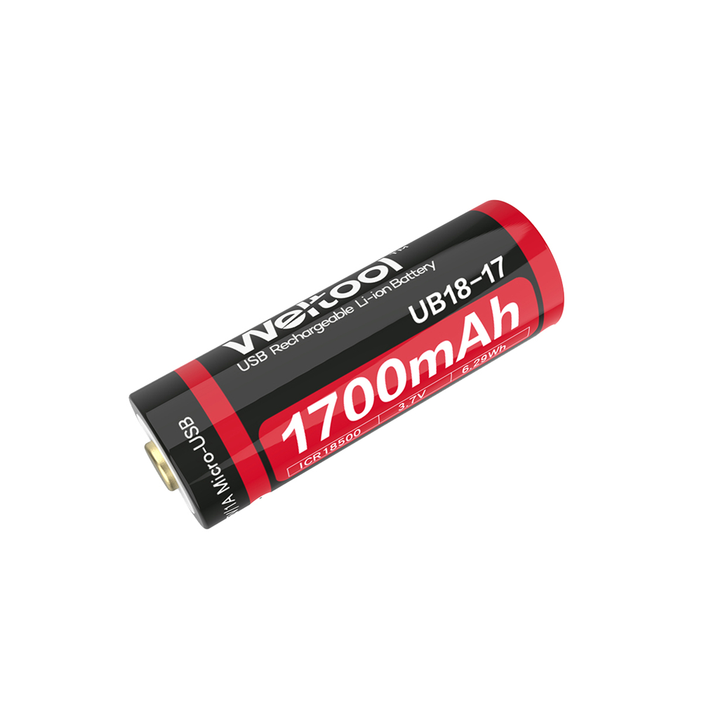 Weltool UB18-17 18500 1700mAh USB Rechargeable Li-ion Battery